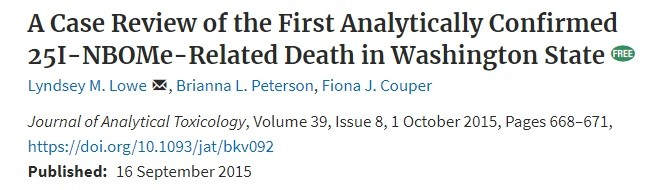 Обзор о первом случае смерти от NBOMe в Вашингтоне